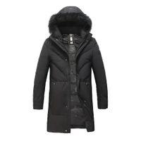 черный мех с капюшоном длинный parka оптовых-Mens Long Down Jacket Black Hooded Coat with Removable Real  Black Fur Plus size Outerwear Long Down Parka