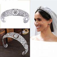 vintage tören tiaraları toptan satış-Prenses Harry Meghan Düğün Taç Vintage Kristal Gelin Tiaras Saç Bandı Başlığı Gümüş Kraliçe Gelin Pageant Taçlar