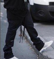 мешковатые спортивные брюки оптовых-19ss страх Божий туман мешковатые нейлон брюки кости трек брюки шнурок брюки спортивные брюки улица случайные свободные брюки спортивная мода брюки