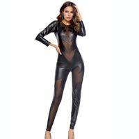 сексуальный черный латекс оптовых-Black PU Leather Jumpsuit Women Skinny Lace Mesh Patchwork Bodysuit Latex Catsuit Fetish Wear Sexy Pole Dance Clothing Bodysuit