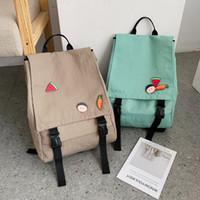 Wholesale korean canvas school bag backpack resale online - JIULIN Japanese style old girl s school bag women s double shoulder bag Korean son based primary wind canvas tide backpack