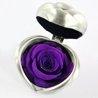 свежие розы сохранились оптовых-Ручной работы сохранил цветок розы изысканный свежий форма сердца романтический с подарочной коробке Бессмертный День матери День Святого Валентина вечность