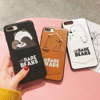niedlicher telefontaschenkasten großhandel-Neue Cartoon niedliche Stickerei 3D Wir Bare Bears Kartentasche Telefon Fall Mit Kartenfach Leder Abdeckung für iPhone