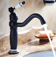 Wholesale antique brass bathroom faucet online - Middle height Black Antique Brass Retro Bathroom Basin Sink Mixer Taps with blue and white porcelain Swivel Spout Faucet B3219