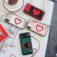 Wholesale hollow back iphone case online – custom Hollow Love Pattern Phone Case for iPhone Pro Max X XS XR plus Diagonal Chain Back Cover
