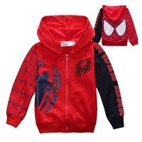 örümcek adam çocuk kıyafeti toptan satış-Bebek Erkek Giysileri Kapşonlu Spiderman Spor Takım Elbise Tişörtü Bahar Tortum Kış Kıyafetleri Çocuklar Giysi Tasarımcısı Tops