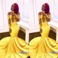 ingrosso blue fish tail dress-2018 giallo africano sirena prom dresses lungo pizzo spalle maniche lunghe vedere attraverso abiti da sera formale partito abiti da treno sweep