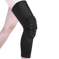 mangas de perna de compressão de basquete venda por atacado-Respirável Sports Football Basketball Knee Pads Honeycomb Knee Brace Leg luva Calf Proteção Suporte Compression