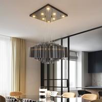 Wholesale modern square chandelier lighting resale online - New design modern square crystal chandelier lighting luxury smoky crystal chandeliers led pendant lights fixtures for hotel bar club