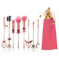 румяна розовые сумки оптовых-8 шт. Набор кисточек для макияжа Sailor Moon Sakura с розовой сумкой, кисточкой из сплава розового золота для пудры с плоскими кисточками для глаз для женщин