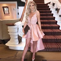 Wholesale two pieces asymmetrical prom dress resale online - 2019 Pink V Neck Spaghetti Straps Prom Dresses V Neck High Low Ruffles Skirt Satin Homecoming Dress Appliques Asymmetrical Hem Party Gown