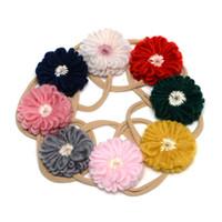 strickgarn blumen großhandel-8 Farben-Baby-Blumen-Stirnband, das Woolen Garn Floret super weiches und fehlerloses Nylonheadwear 8pcs / lot JFNY115 strickt