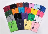 graue polohemden für männer großhandel-Polo-Shirt der Männer Groß- und Kleinhandel T-Shirt Hochwertige Mode-Polo-Shirt Männer Lila Blau Rot Grau Schwarz Kurzarm 2019 Sommer