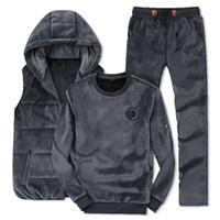 Wholesale clothes set velvet sports resale online - tracksuit for man Winter Fashion Men Sporting Suit Hoodie Vest Pants Sweatshirt Gold Velvet Piece Set Tracksuit For Men Clothes