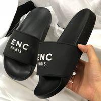 am besten sandalen für damen großhandel-Designer Sandalen Flache schwarze Gummi Sandalen mit PARIS Herren Gummi Hausschuhe Sommer Mode Unisex Strand Flip Flops Slipper Beste Qualität