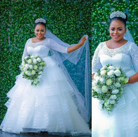 Wholesale custom made wedding dresses nigeria for sale - Group buy Nigeria African Wedding Dresses Lace Long Sleeves Plus Size Bridal Ball Gown Long Bride Dress