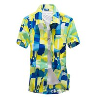 asiatische kleidung des freien verschiffens großhandel-2019 neues Mens-Hawaiihemd-männliches beiläufiges camisa masculina druckte Strand-Hemden-Kurzschluss-Hülsen-Markenkleidung freie Verschiffen-asiatische Größe 5XL
