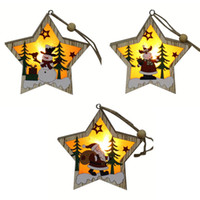 Wholesale tree frames for sale - Group buy Wooden Star Frame Christmas Ornament Lamp Luminous Xmas Tree Hanging Pendant Holiday Decor