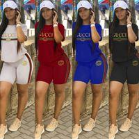tasarımcı spor takımları toptan satış-Marka tasarımcısı yaz kadın Eşofman Rahat Mektup spor Takım Elbise kadın iki parçalı kıyafetler üst ve şort Spor Giyim s-2xl