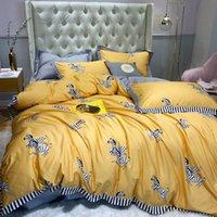 roupa de cama impressa zebra venda por atacado-100% Pure Cotton 2019New dos desenhos animados Bedding Set Adorável Zebra Impresso amarelo capa do edredon sólido Cor Cinza Bedsheet Double Queen Rei