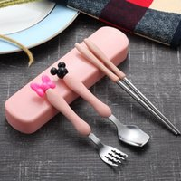 Wholesale dinnerware set cartoon resale online - Stainless Steel Outdoor Portable Cutlery Set Flatware Set Chopstick Spoon Fork Piece Dinnerware Sets Camping Picnic Tableware