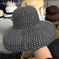 дышать свободно оптовых-2019 новых женщин пляжная шляпа с широкими полями соломенная шляпа анти-уф UPF50 флоппи-солнце кепка складной лето дышать свободно