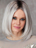 Wholesale bob wig grey color for sale - 12a Human Hair Lace Front Wigs Ombre Grey Color Brazilian Remy Hair Bob Haircut With Preplucked Bleached Knots Natural Hairline