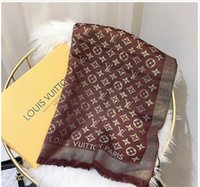 goldene schals großhandel-Klassische Marke Mode Paris zeigen Designer Schal Top Luxus goldenen Faden Wolle Textil Schal Frau Schal Schal 140cm