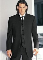mandalina düğün smokinleri toptan satış-Yeni Satış İlk Damat Smokin Siyah Mandarin Yaka Best Man Sağdıç Erkekler Düğün Takımları Balo Formu Damat (Ceket + Pantolon + Kravat + Yelek)