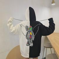 melek kanadı hoodie toptan satış-KAWS Çift Modelleri Tasarımcı Kapşonlu Kazak Butik gelgit marka erkek Hoodie Dikiş Renk Kapşonlu Triko Geri Angel Wings Artı Kadife Gömlek