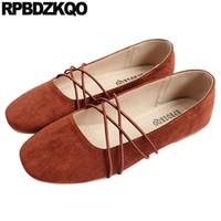 kahverengi süet ayakkabı kadınlar toptan satış-Çin Mary Jane Yumuşak Bale Daireler Kadın Balerin Meydanı Toe Roll Up Ayakkabı Üzerinde Kayma Kahverengi Japon Tasarımcı Çin Süet Sarı