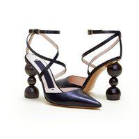 ingrosso scarpe con tacco in legno-Sandali firmati Donna Les Chaussures Camil Strap in camoscio pumps Tacco tondo in legno Pump in vera pelle Abito da sposa Party Shoes SZ US 9