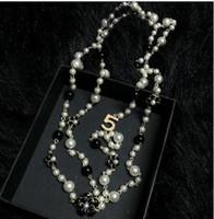ingrosso colletto perla per gioielli donna-35 stili lungo doppio strato perle simulate collane Collares clavicola moda gioielli catena maglione collare collier per le donne r5