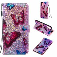 Wholesale unicorn glitter phone case online – custom Unicorn wallet bling glitter butterfly flap with lanyard phone case for iPhone PRO MAX Samsung NOTE10 PLUS
