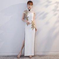 elmas yaka gece elbiseleri toptan satış-Mandarin Yaka Çin Elbise Lady Gelin Gelinlik Aplikler Bling Seksi Akşam Parti Kıyafeti Hollow Out Rhinestone Vestidos