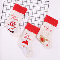 Wholesale high end gift bags resale online - High end Christmas Stockings Gift Bags Cute Christmas Candy Bag Linen Embroidery Decoration Gift Holders