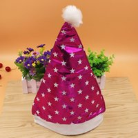 Wholesale red birthday party hats resale online - Birthday Party hat Five pointed star plain cloth cap Festive accessories christmas gifts Xmas Decoration ZHH082