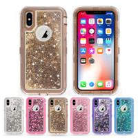 glitter bling wallet großhandel-Bling Liquid Glitter Handyhülle für iPhone XS MAX XR 8 7Plus Samsung Galaxy Note 9 J3 J7 2018 Roboter Stoßfeste Schutzhüllen