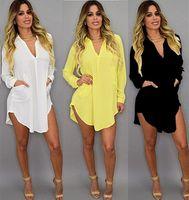vestidos de praia brancos para mais tamanho venda por atacado-Verão Sexy V Neck Praia Curta Vestido Chiffon Branco Mini Solto Casual T Shirt Vestido Plus Size Roupas Femininas