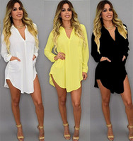 sexy vestido de talla grande al por mayor-Verano sexy con cuello en v corto vestido de playa gasa blanco mini camiseta suelta casual vestido más tamaño ropa de mujer