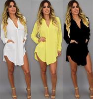 gevşek plaj v boyun elbisesi toptan satış-Yaz Seksi V Boyun Kısa Plaj Elbise Şifon Beyaz Mini Gevşek Rahat T Gömlek Elbise Artı Boyutu Kadın Giyim