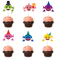 Wholesale kids cupcake party online - Baby Shark Cupcake Toppers Insert Dessert Table Cartoon Insertion Kids Birthday Party Baby Supplies cartoon Decor props FFA2029