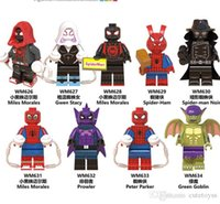 Wholesale goblin toys resale online - Bravo styles Super Hero Spider Man Into the Spider Verse Peter Parker Green Goblin Miles Morales Building Block Brick Mini Toy Figure