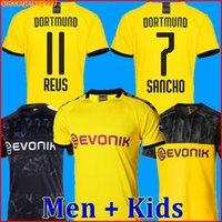camisa reus venda por atacado-19 20 BVB Borussia dortmund camisa de futebol PERIGO 2019 2020 camisa de futebol SANCHO REUS HUMMELS BRANDT PACO DELANEY homens + crianças kit uniformes