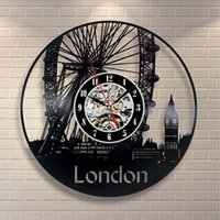 Wholesale london home decor resale online - London Art Vinyl Wall Clock Gift Room Modern Home Record Vintage Decor Handmade Art Personality Gift Size inches Color Black