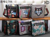 Wholesale locking briefcase resale online - New Men s High Quality Tiger Head Snake Emblem Printed Ribbon Single Shoulder Slant Bag Vertical Zipper Postman Bag Men s Briefcase