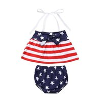 Wholesale baby wear star online - Independence Day Toddler Baby Girls Star Stripe Suits for USA The Fourth of July Kids National Day Wear Kids Special Occasion Clothes