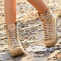 ingrosso scarponi da caccia leggeri-Scarpe Uomo Donna escursione di campeggio esterna Trekking Eu 37-46 Tactical Combat Training Light Weight 07 Desert boots Pesca Caccia