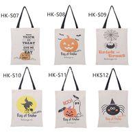 typen spinnen großhandel-6 Arten Halloween-Segeltuch-Sack-Spinnen-Kürbis-Einkaufstaschen Drawstring-Sack-Süßigkeits-Geschenk-Taschen Süßes sonst gibt's Saures Beutel-Partei-Dekoration