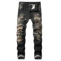 винтажная одежда из хип-хопа оптовых-New Fashion Hip Hop Moto Bikers Slim Jeans Men Designer Clothes Distressed Ripped Skinny Denim Biker Jeans Vintage Dropshipping